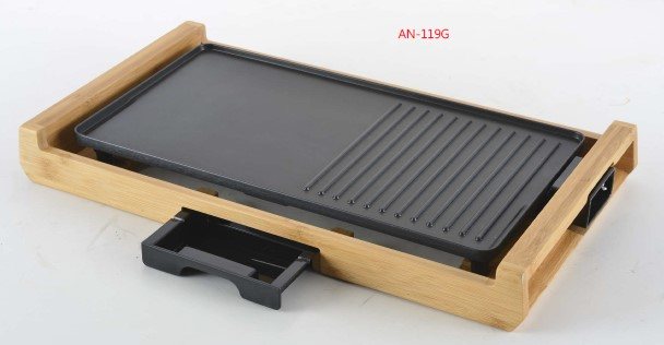 electric bamboo table griddle grill with bamboo base